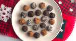 Plate of no-bake chocolate peppermint bliss balls