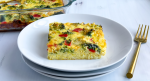 Slice of overnight veggie casserole