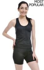 Woman Wearing Black Lycra Stretch Tank Top