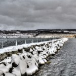 Watkins Glen breakwater in winter.