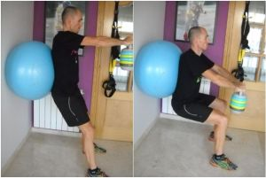 squat exercise with a ball