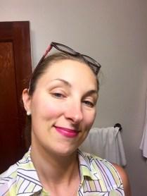 Wearing Rouge Pur Couture Lipstick 19 Fuschia.