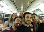 En el metro de NY, camino del Barça - Atlético de Madrid