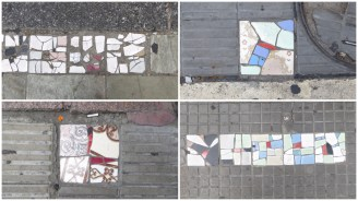 En distintos puntos de la ciudad se puede observar como hay trozos de azulejos de colores para rellenar las baldosas rotas del suelo. Un ciudadano anónimo y altruista se dedica a mejorar la ciudad por las noches <3