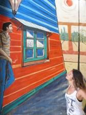 ... y sin quererlo, conocimos al autor de esta pintura, Jofre. Un artista plástico argentino, de madre gallega, que había vivido toda su vida en Caminito. Nos contaba la ilusión que tenía por poder conocer España, y que su hijo en unos meses iba a tener la oportunidad de conocer la tierra de su madre.