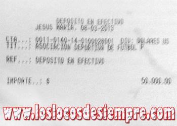 Comprobante del pago realizado por el Deportivo Municipal
