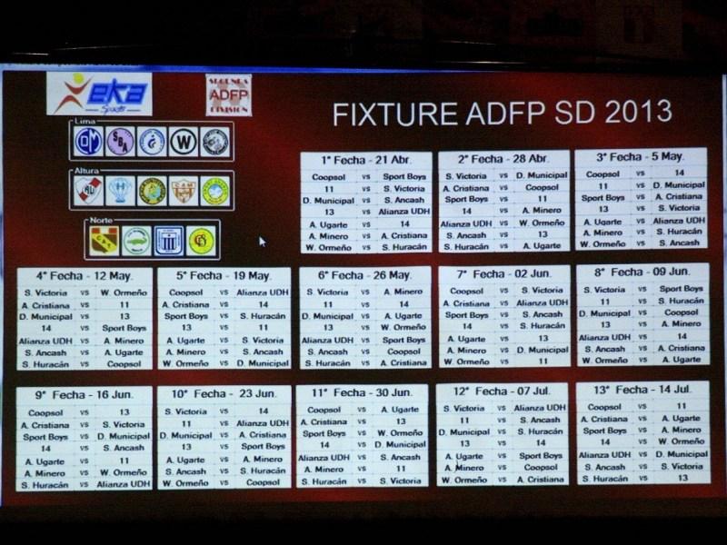 Fixture 2013. Foto: Cortesía Oficina de Prensa ADFP-SD