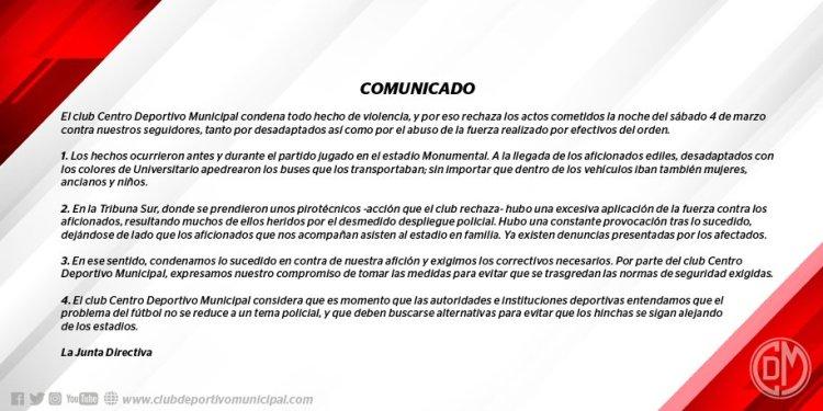 Comunicado del Deportivo Municipal