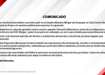 Deportivo Municipal. Comunicado