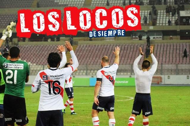 El equipo se despide de la hinchada al término del partido. Foto: LOSLOCOSDESIEMPRE/Enzo Mori