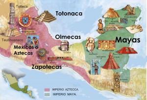 Territorios de Aztecas y Mayas.