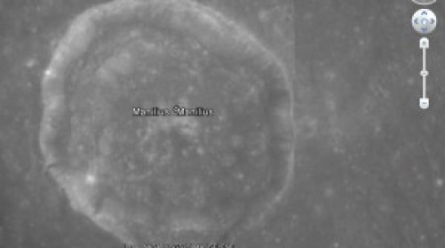 La zona del Cráter Masilium como se encuentra en la actualidad en el Google Earth.