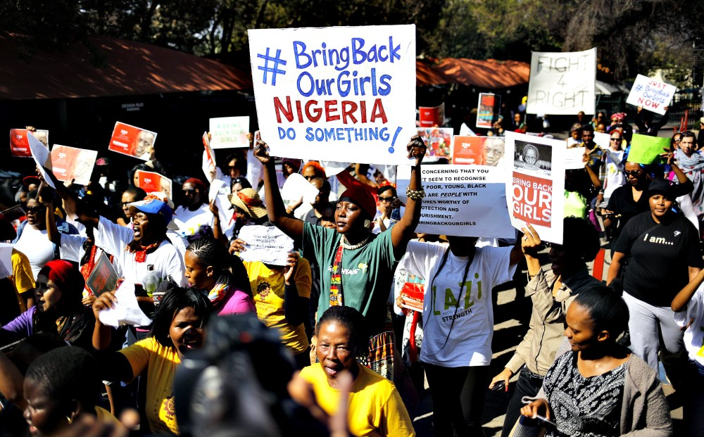 South Africa Nigeria abducted girls protest...epa04196309 Some o