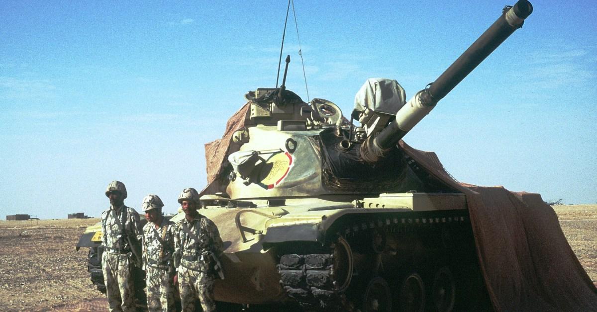 La foto di un carro armato dell'esercito egiziano durante un'operazione in Medio Oriente
