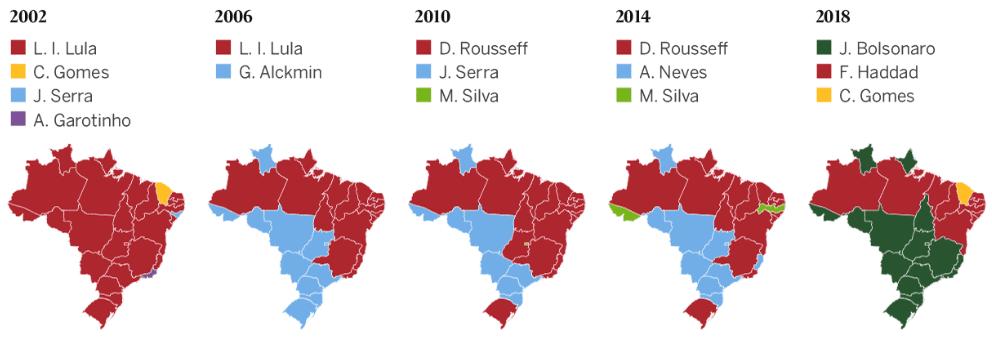 Evoluzione del voto fino a bolsonaro
