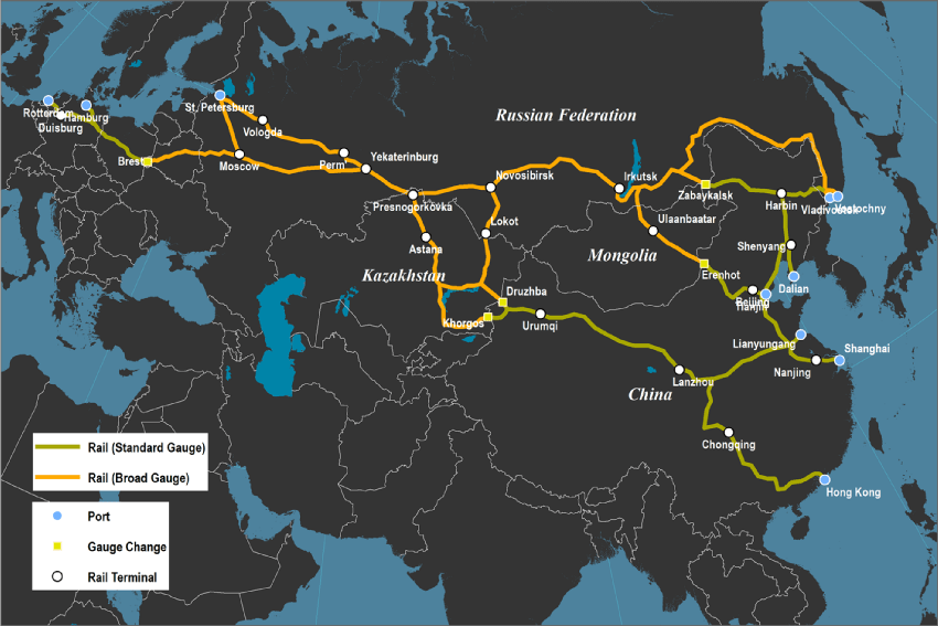 The Trans-Asian Railway (Eurasian Landbridge)