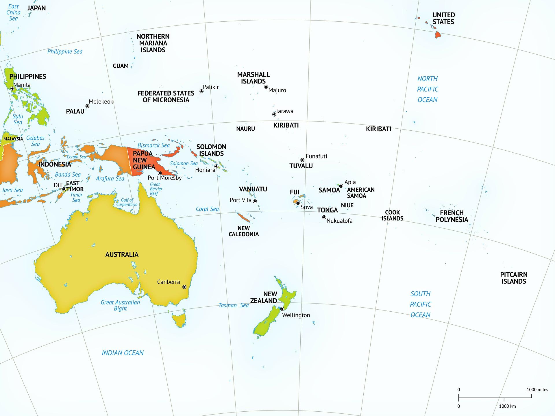 Mappa dell'Australia e Nuova Zelanda