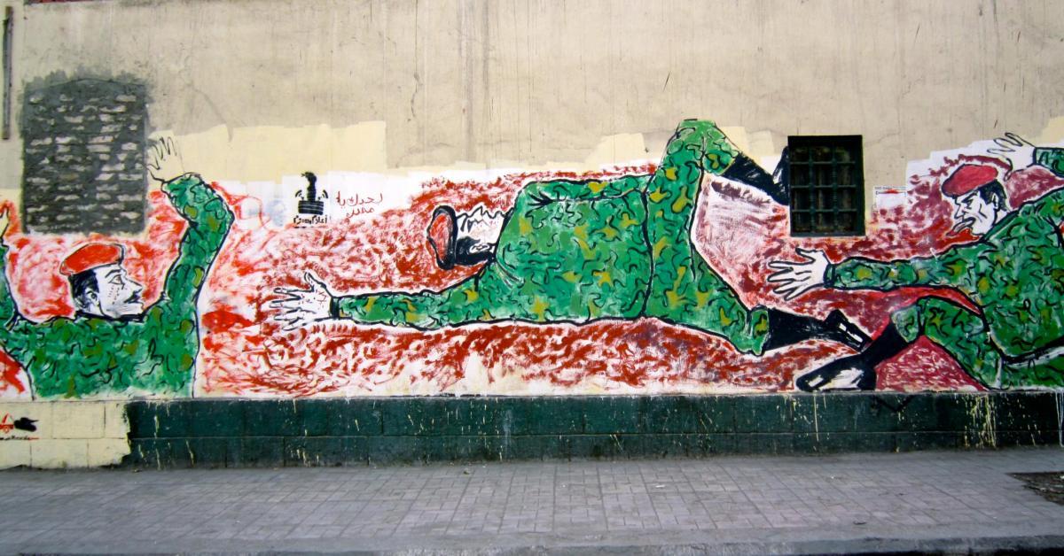 Un murales in Egitto in protesta contro la censura