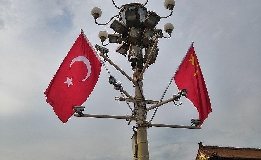 Le bandiere di Turchia e Cina di fronte a Tian'anmen