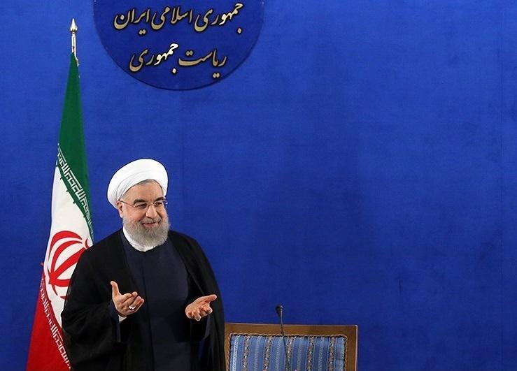 Hassan Rouhani durante la conferenza stampa post-elettorale del 2017