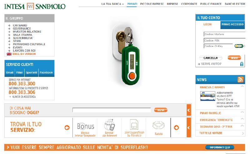 Intesa, Sotto Esame L'home Banking Lospifferocom