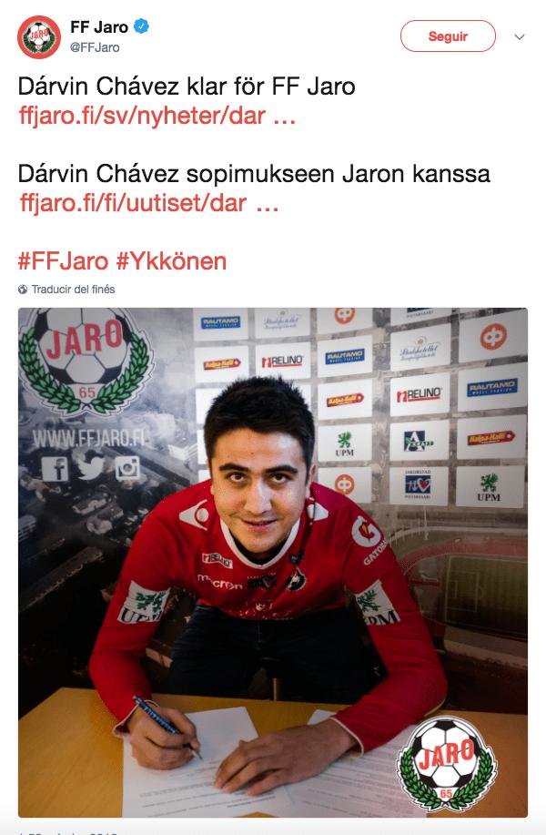 Darvin Chávez jugará en la Segunda División de Finlandia con el Jaro