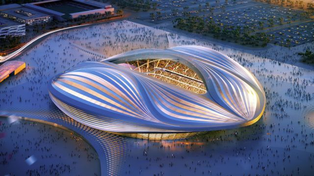 UNSPECIFIED: In this undated computer-generated artists impression provided by 2022 Supreme Committee for Delivery and Legacy, the Al Wakrah stadium, a Qatar 2022 World Cup venue to be bulit in Al Wakrah, Qatar.