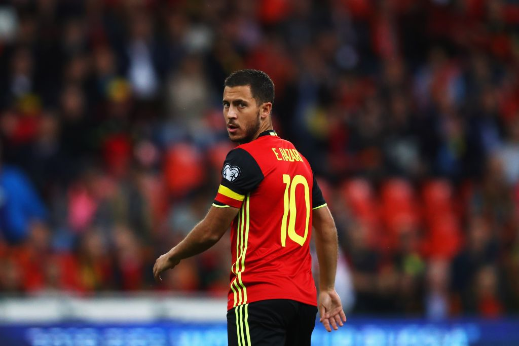 BRUSSELS, BELGIUM - AUGUST 31: Eden Hazard of Belgium looks on during the FIFA 2018 World Cup Qualifier between Belgium and Gibraltar at Stade Maurice Dufrasne on August 31, 2017 in Liege, Belgium. (