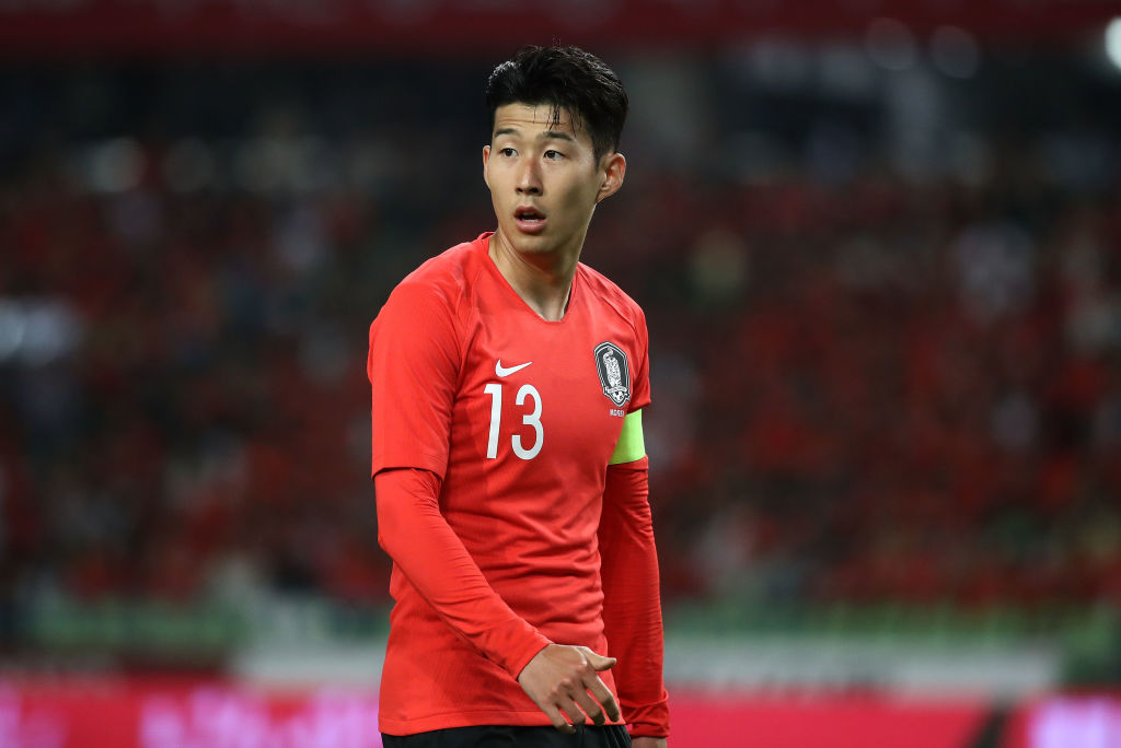 DAEGU, South Korea - MAY 28: Son Heung-Min of South Korea in action during the international friendly match between South Korea and Honduras at Daegu World Cup Stadium on May 28, 2018 in Daegu, South Korea.