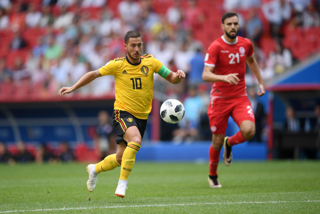 MOSCOW, RUSSIA - JUNE 23: Eden Hazard of Belgium runs with the ball on his way to score his team's fourth goal during the 2018 FIFA World Cup Russia group G match between Belgium and Tunisia at Spartak Stadium on June 23, 2018 in Moscow, Russia. (