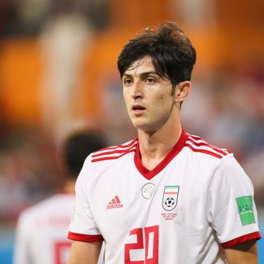 SARANSK, RUSSIA - JUNE 25: Sardar Azmoun of IR Iran in action during the 2018 FIFA World Cup Russia group B match between Iran and Portugal at Mordovia Arena on June 25, 2018 in Saransk, Russia.