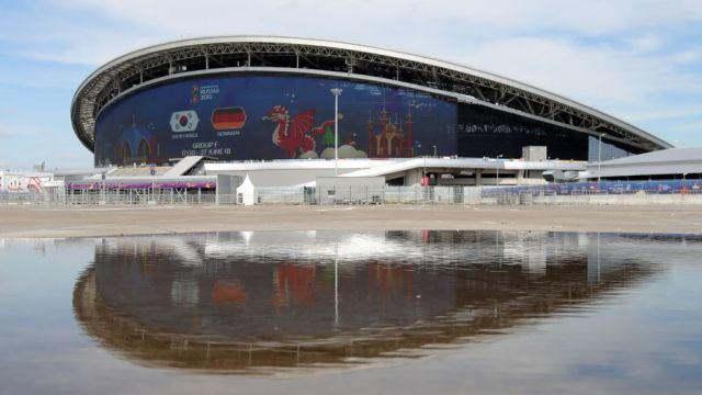 KAZAN, RUSSIA - JUNE 27: General view outside the stadium prior to the 2018 FIFA World Cup Russia group F match between Korea Republic and Germany at Kazan Arena on June 27, 2018 in Kazan, Russia.