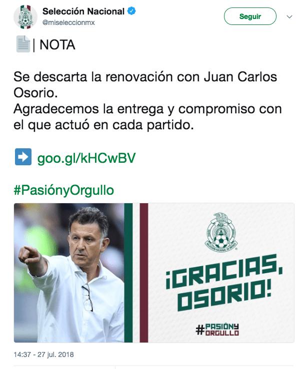 Juan Carlos Osorio Selección Mexicana