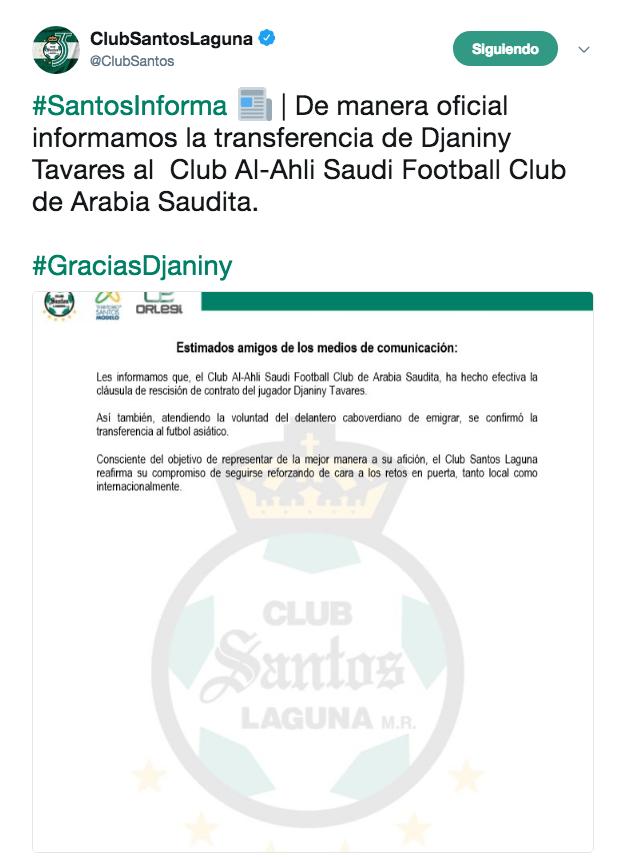 Djaniny Tavares Santos Laguna Arabia Saudita Venta altas bajas Twitter