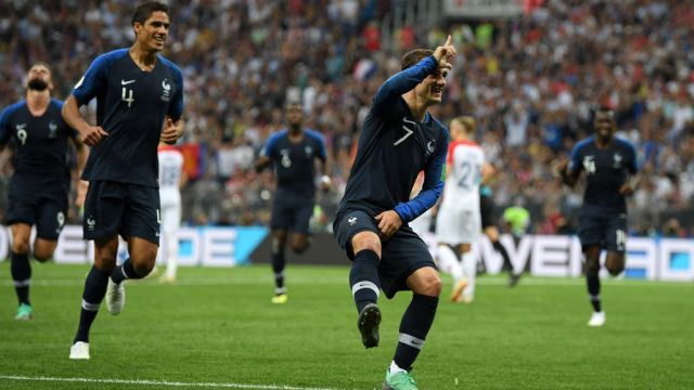 MOSCOW, RUSSIA - JULY 15: Antoine Griezmann of France celebrates after scoring a penalty for his team's second goal during the 2018 FIFA World Cup Final between France and Croatia at Luzhniki Stadium on July 15, 2018 in Moscow, Russia. (