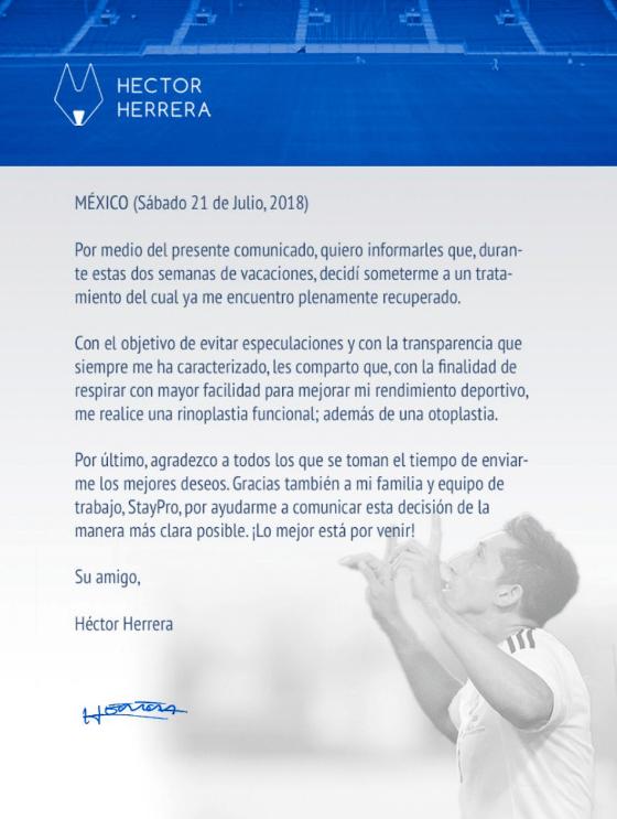 Héctor Herrera, Cirugía Orejas, Cirugía Nariz, Porto