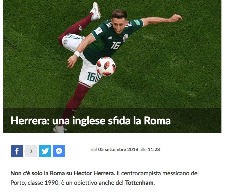 Héctor Herrera, Premier League, Tottenham, Roma