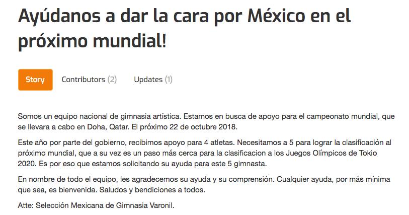 Selección Mexicana, Gimnasia, Crowdfunding, Mundial
