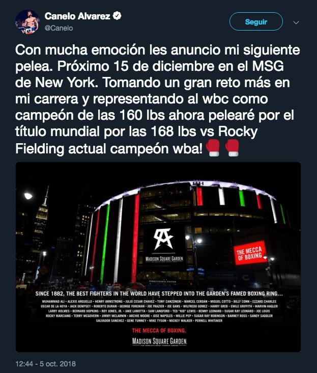 Canelo Álvarez, Rocky Fielding, Pelea Diciembre, Nueva York