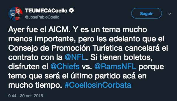 Jose Pablo Coello NFL en México Cancelacion Aeropuerto Texcoco Chiefs Rams