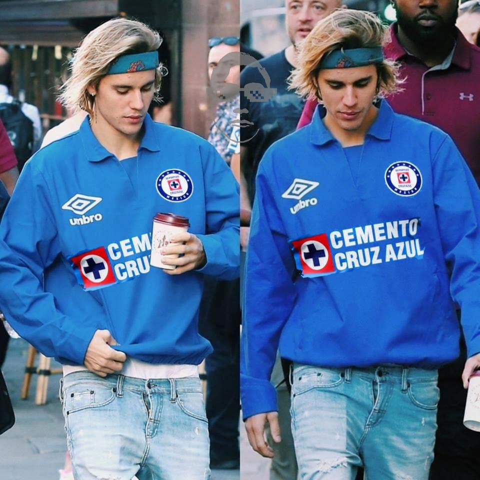 El montaje de Justin Bieber con una camiseta de Cruz Azul