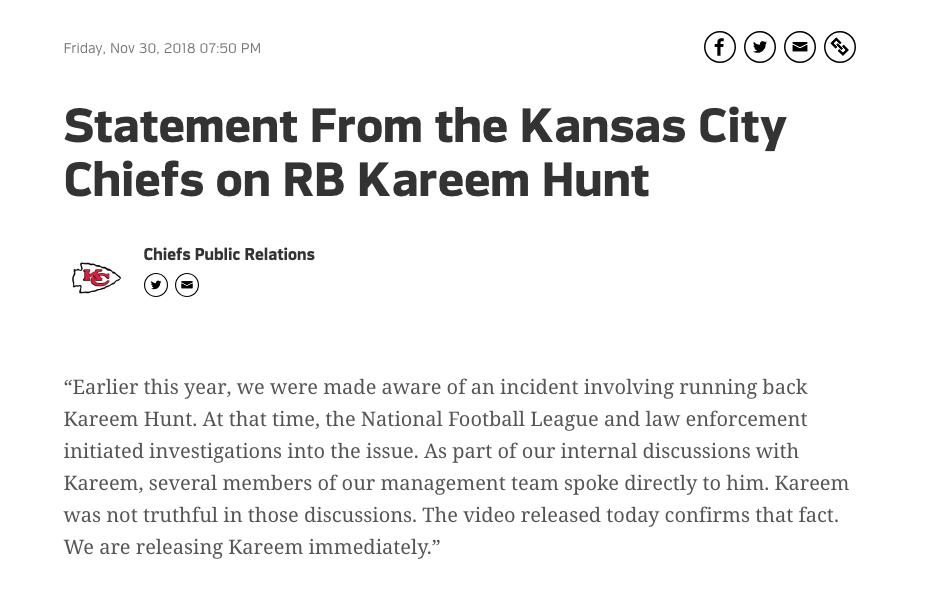 Kareem Hunt, Kansas City Chiefs, Golpea, Mujer Los Pleyers