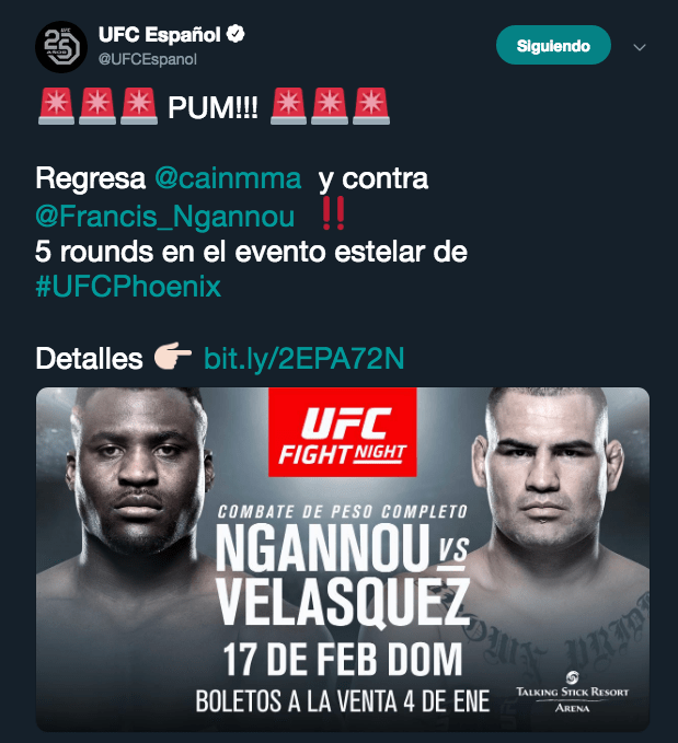 Caín Velásquez, Francis Ngannou, Regreso, UFC Los Pleyers