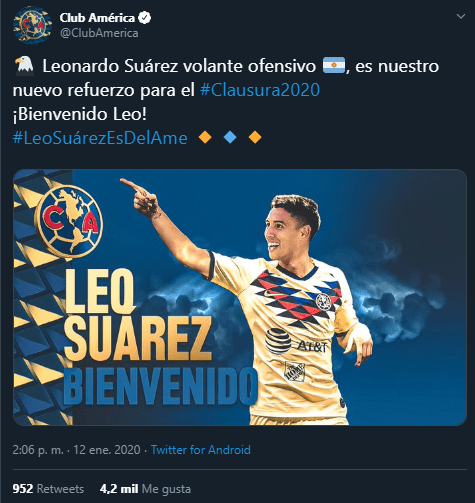 12/01/2020, Confirman fichaje de Leo Suárez como sustituto de Roger Martínez en América