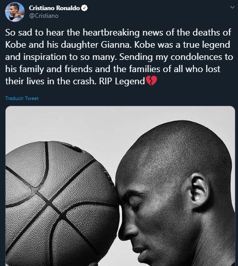 26/01/2020. Kobe Bryant Cristiano Los Pleyers, Mensaje de CR7 a Kobe.