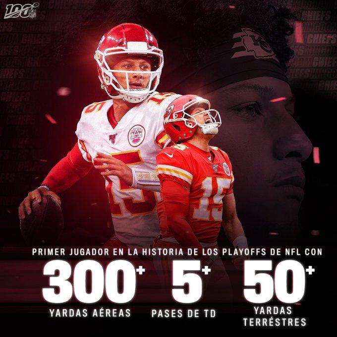 20/01/2020. Mahomes Estadísticas NFL Los Pleyers, Imagen de la NFL.