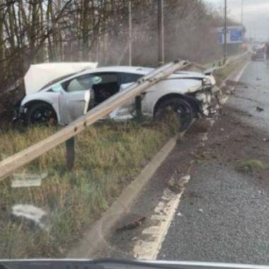 20/01/2020. Sergio Romero Lamborghini Accidente Auto Los Pleyers, El coche del guardameta.