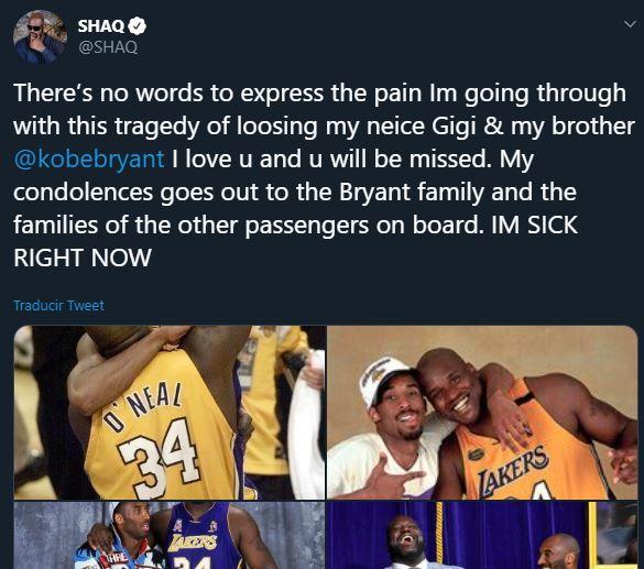 26/01/2020. Shaq Kobe Bryant Los Pleyers, Tuit de Shaq.