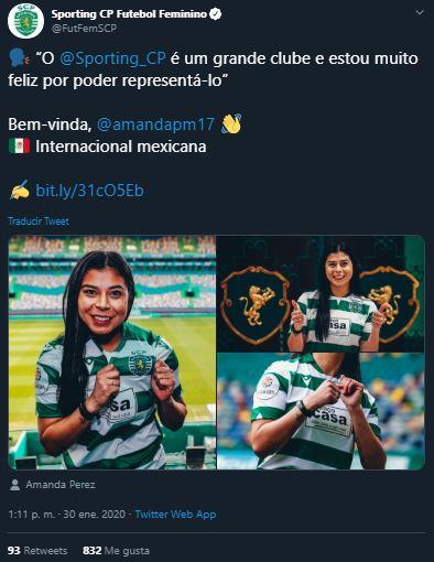 30/01/2020, Futbol Femenil: Sporting de Lisboa anuncia fichaje de Amanda Pérez