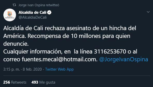 09/02/2020, Reportan la muerte de aficionado del América de Cali a manos de seguidores del Deportivo Cali